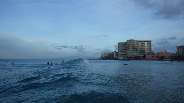Hotels seen from the water