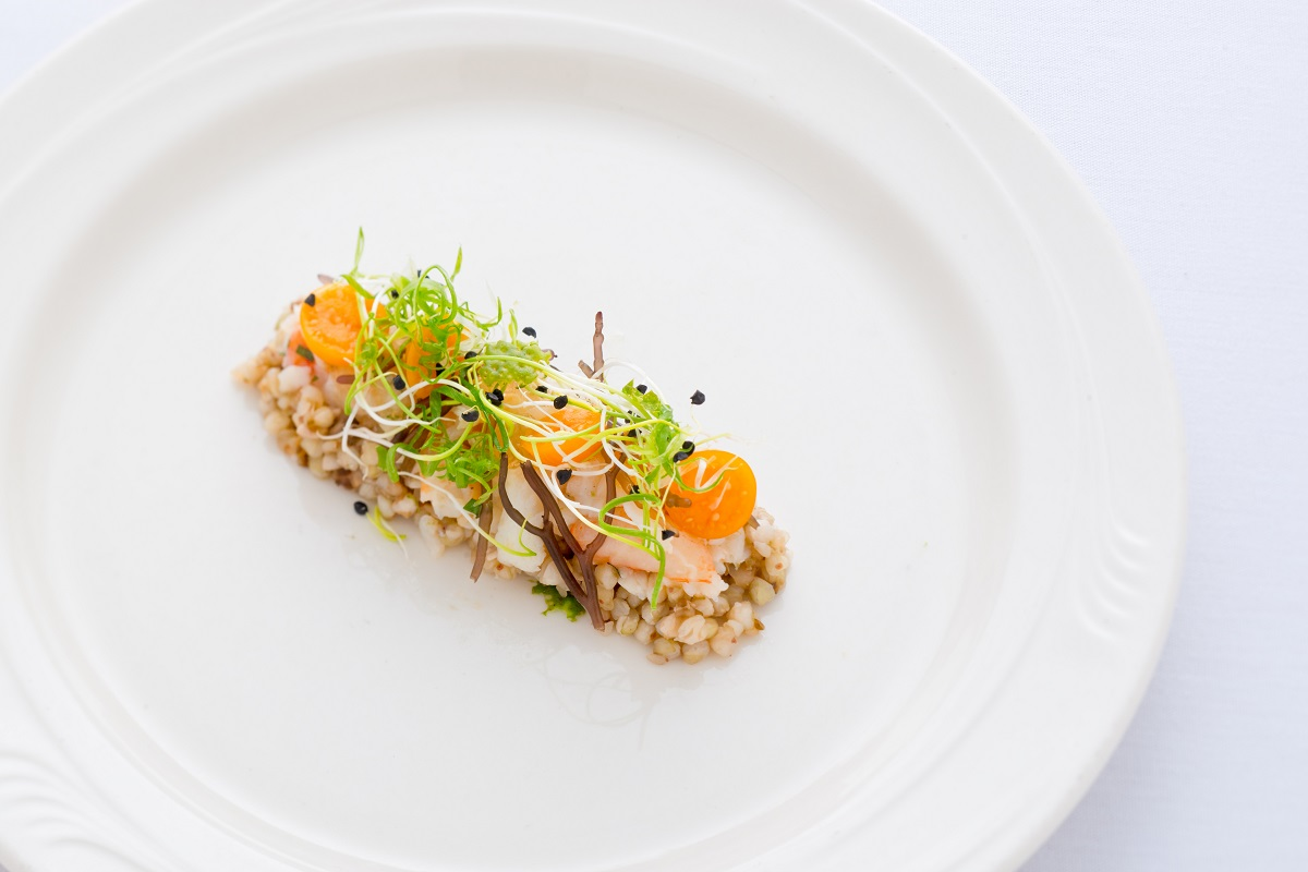 crab ceviche with buckwheat and yuzu