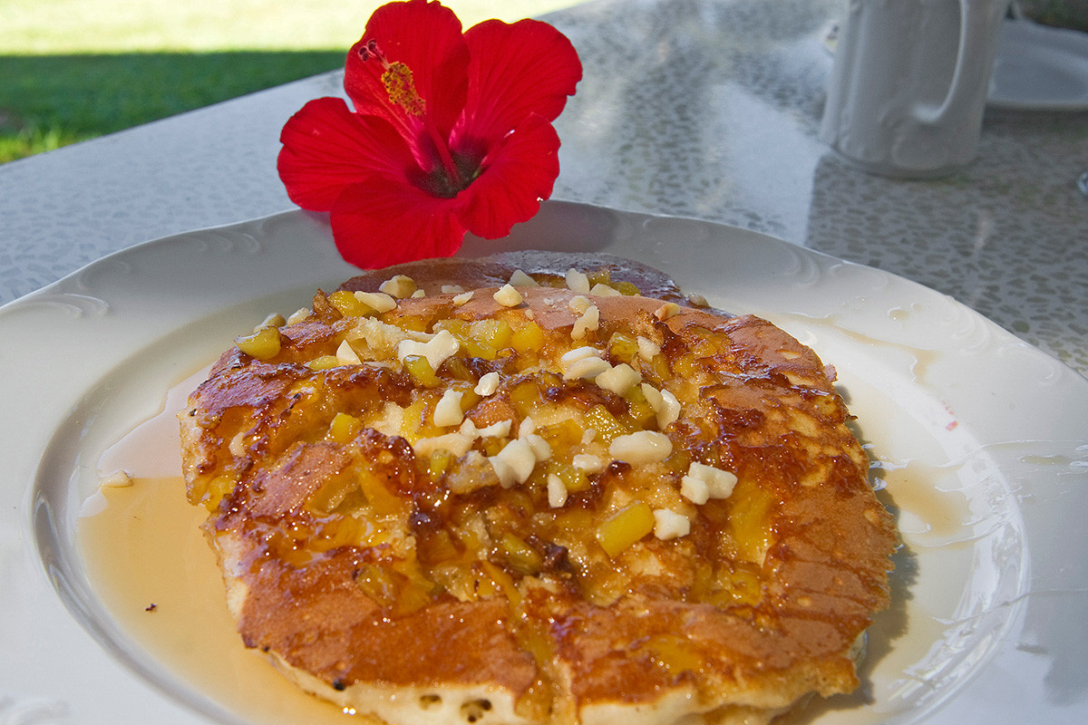 Macadamia nut pancakes are a Mauna Lani buffet specialty.